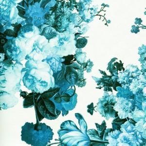 Umetno usnje Floral, modra