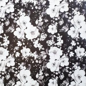 Umetno usnje Pomladno cvetje, črno-bela