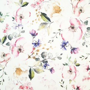 Umetno usnje Pomladno cvetje, bela