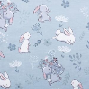 Bombažni jersey, zajčki, modra