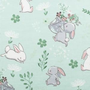 Bombažni jersey, zajčki, zelena