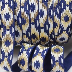 Obrobna elastika zlati potisk, temno modra