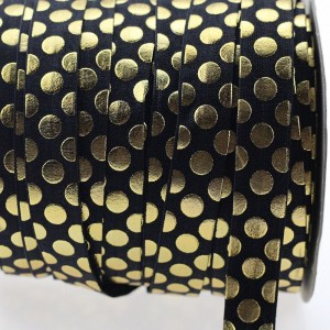 Obrobna elastika zlati potisk, črna