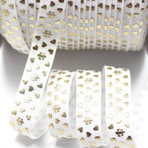 Obrobna elastika zlati potisk, bela