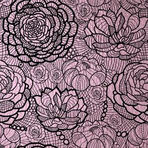 UMETNO USNJE Čipka floral, shiny roza