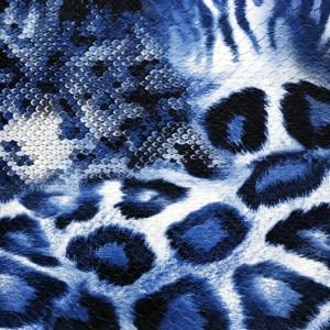 Umetno usnje Leopard, modra