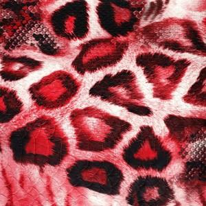 Umetno usnje Leopard, rdeča