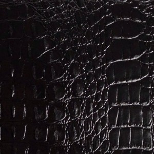 Umetno usnje krokodil, shiny črna