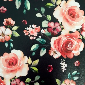 Umetno usnje Vrtnice, črno - rdeča